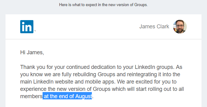 New LinkedIn groups