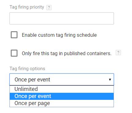 Tag firing options