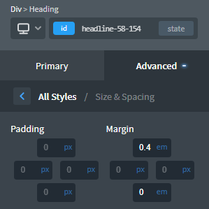 Adding top margin to heading