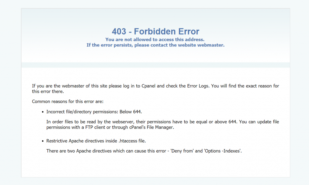 403 Forbidden error