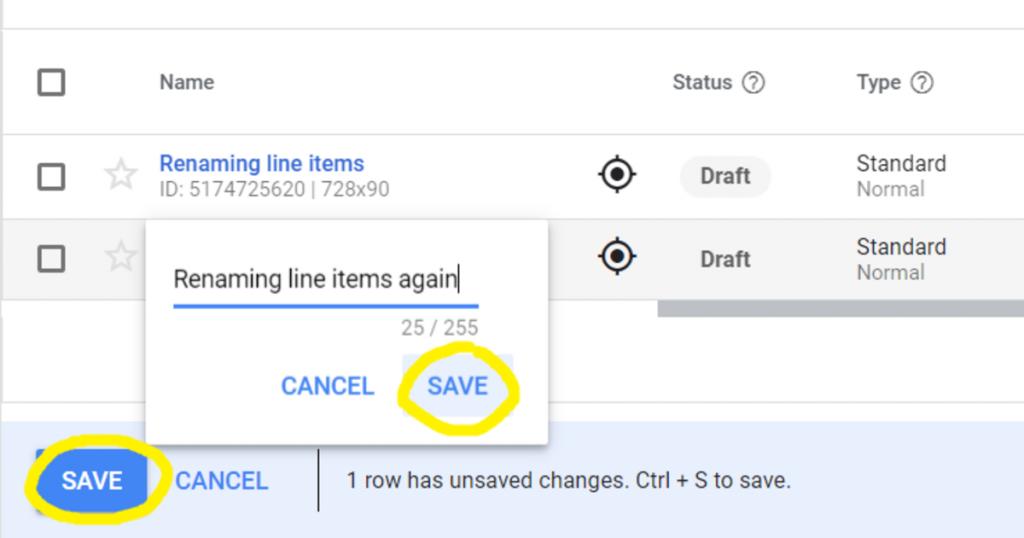 Saving line items twice DFP