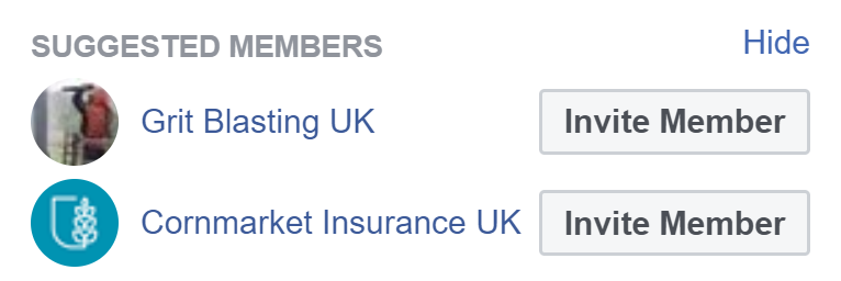 Facebbook suggested members
