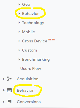 Behavior in Google Analytics