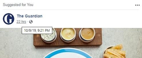 Facebook timestamp hover