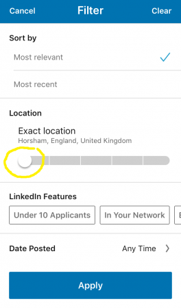 LinkedIn mobile exact location