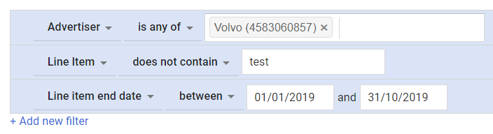 Google Ad Manager filters