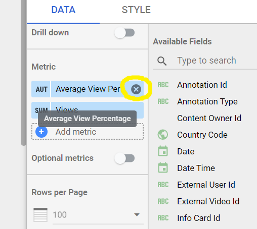 Remove metric Data Studio