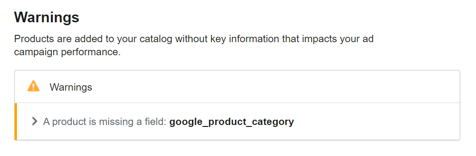 Google Product Category misssing