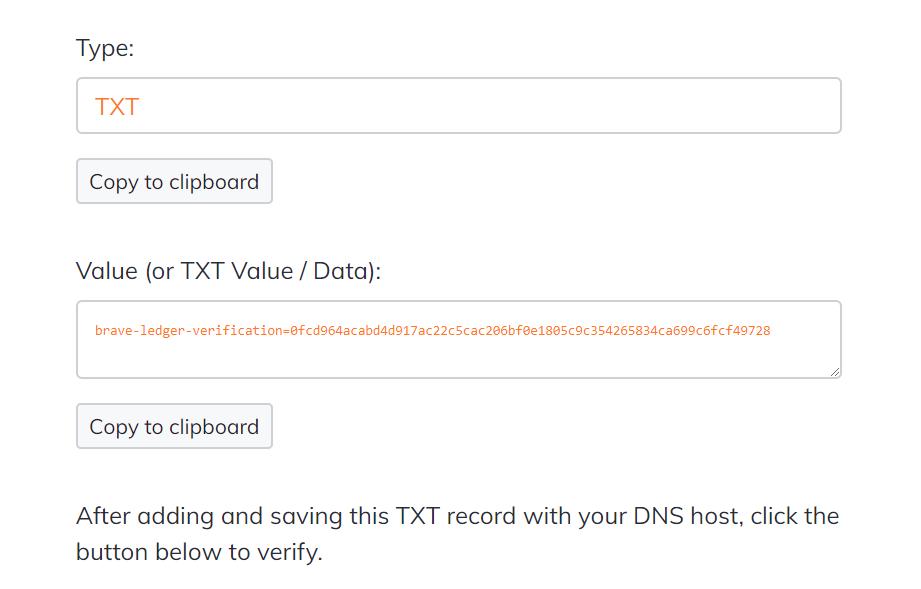 Brave verification values