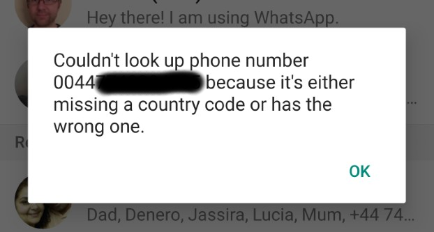 WhatsApp wrong country code