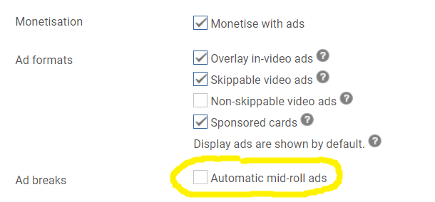 Automatic mid roll ads