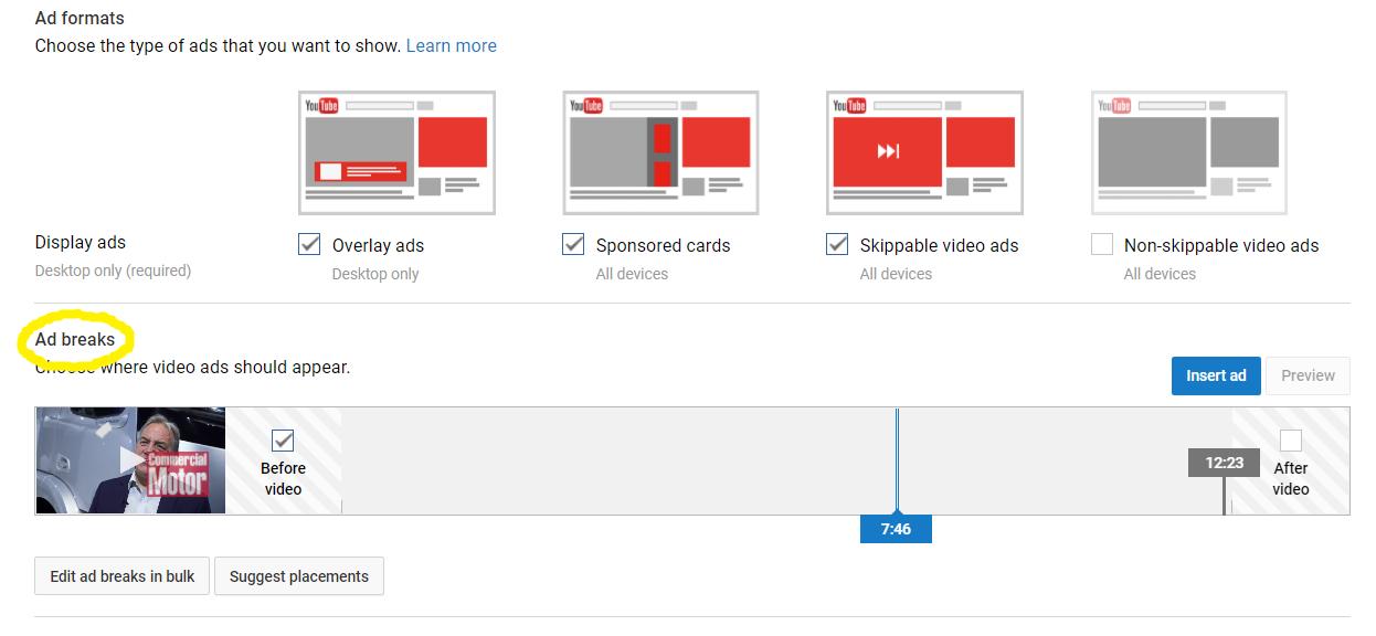 YouTube ad breaks settings