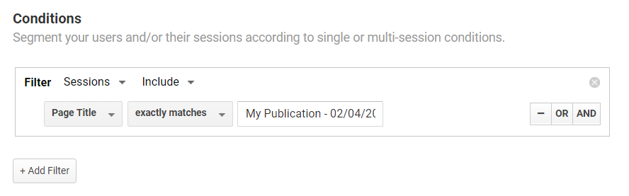 Filtering sessions in Google Analytics