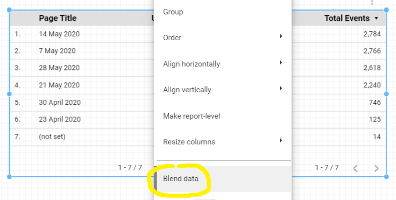Blend data in Data Studio