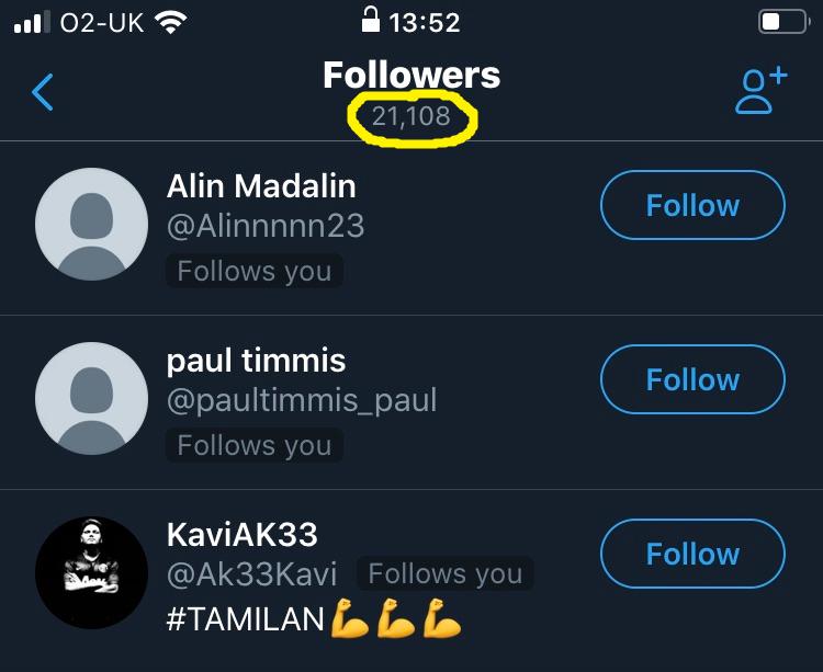 Twitter app follower count