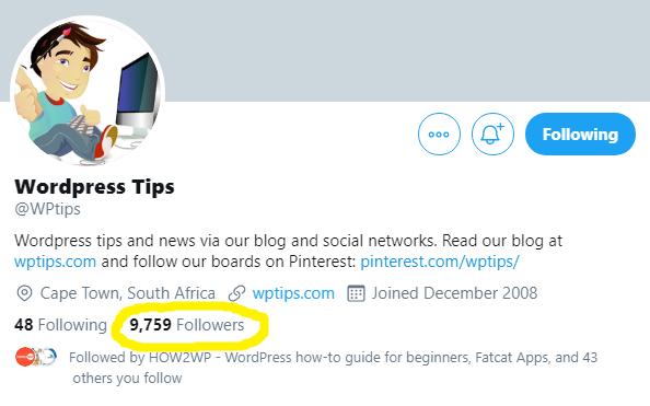 WordPress Tips on Twitter