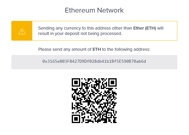 Ether address and QR code
