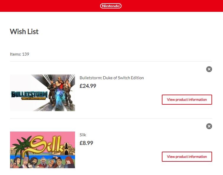 Nintendo Switch Wish List