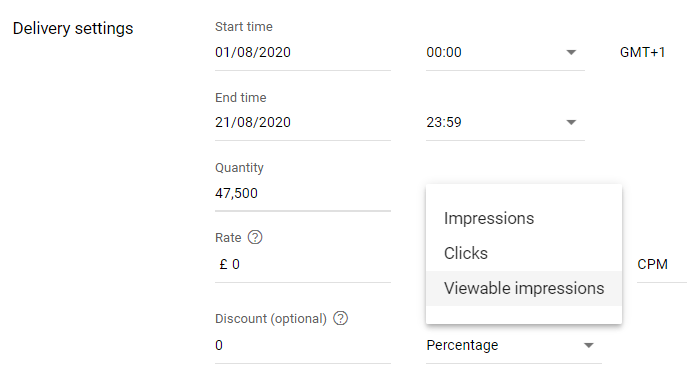 Viewable impressions option