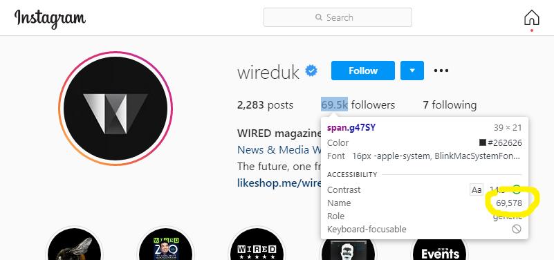 Instagram count selected in DevTools