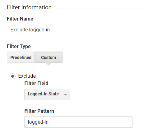Exclude logged-in filter in GA