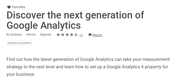 Google Analytics 4 course