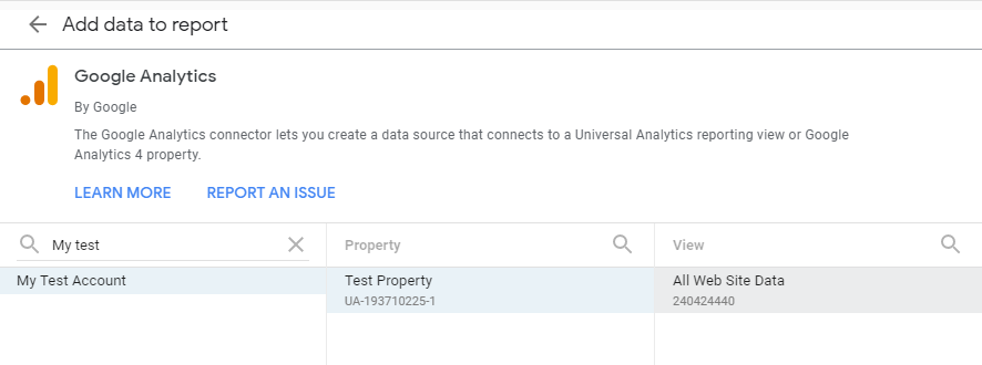 Add Google Analytics data to Data Studio