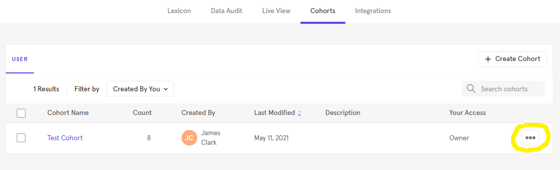Cohorts menu button