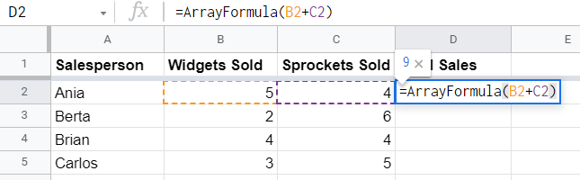 Array formula in single cell
