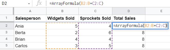 Array formula with infinite range